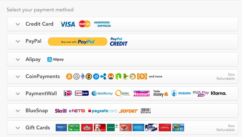 PureVPN Payment Methods