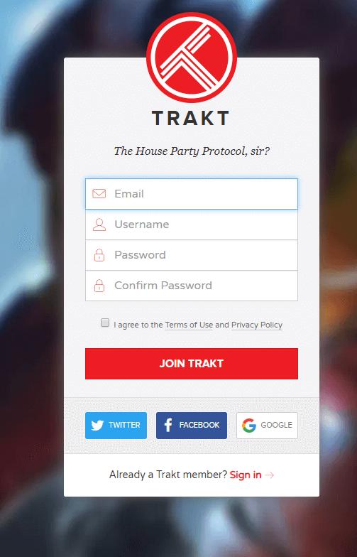 Sign up for Trakt