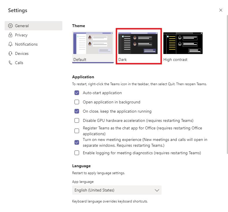 Microsoft Teams Dark Mode