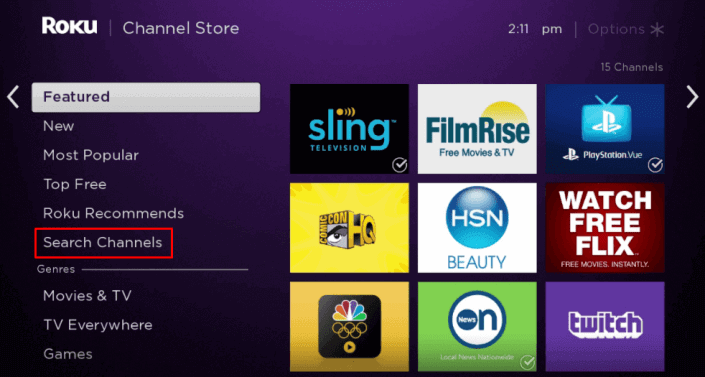 Select Search Channels to install CNNgo on Roku
