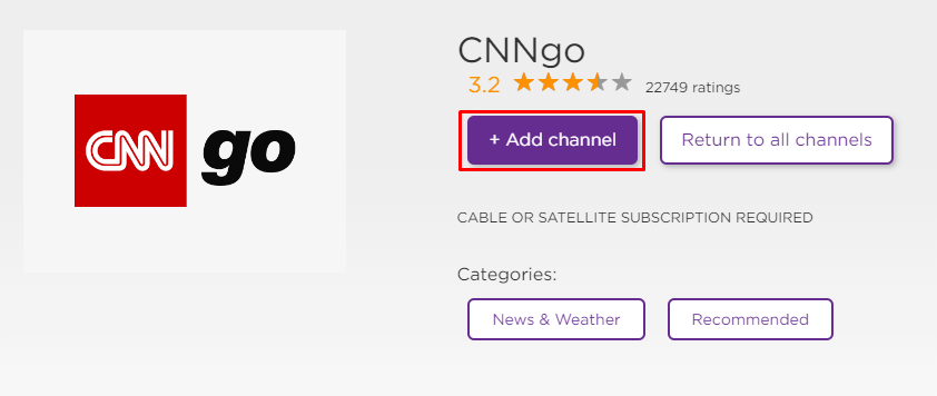 Click Add Channel to install CNNgo on Roku
