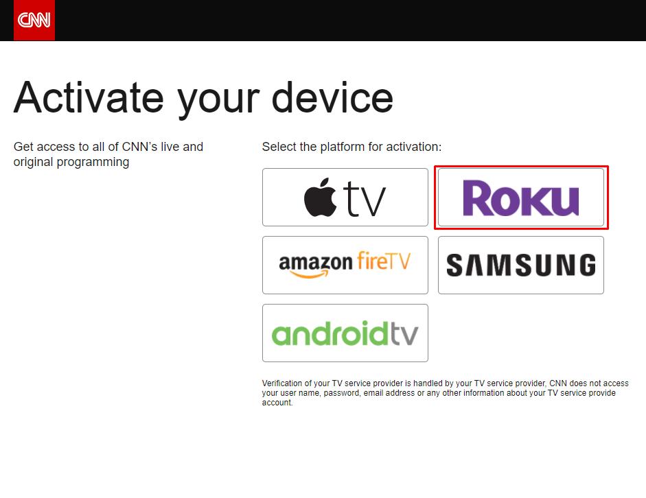 Select Roku to activate CNNgo on Roku