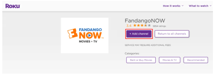 Click on Add channel to add FandongoNow on Roku